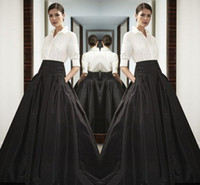High Waist Black Long Satin Skirts Wide Waistband Floor Leng...