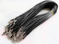 Top ventes pas cher noir cire en cuir collier serpent perles cordon corde corde fil 45cm chaîne d'extension avec homard fermoir bijoux bricolage accessoire