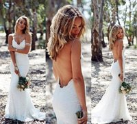 Abiti da sposa senza schienale Mermaid Spaghetti Strap Sexy Completo Abito da sposa in pizzo Sweep economici Low Back BOHO White Bridal Dress