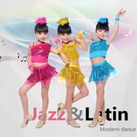 5 pezzi di danza per bambini asilo abbigliamento danza moderna danza latino costumi paillettes velo ragazze estate spettacolo