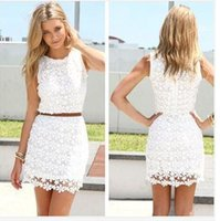 Robes Femmes Casual White Lace évider Fashion Slim Sexy O-cou sans manches Parti S-XL