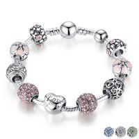 Bracelet à breloques en argent antique avec amour et fleur Boule en cristal Femmes Cadeaux de mariage à la Saint-Valentin 18CM 20CM