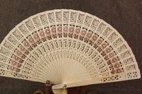 Holzfächer 8 '' Chinese Sandalwood Fans Hochzeit Fans Damen Hand Fans Werbung und Werbe Faltfächer Braut Accessoires