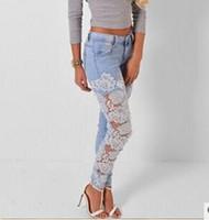 2019 Sexy Oco Out Rendas Jeans Pant Mulheres Meninas Do Vintage Calça Jeans Longa Splice Elasticidade Slim Fit Jeans Pant