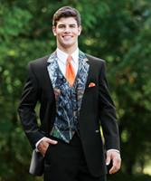 Nouveau Camouflage Tuxedos Unique One Button Camo Hommes Costumes De Mariage À Encolure Revers Groom Porter Des Costumes De Bal Pour Hommes (Veste + Pantalon + Gilet + Cravate)