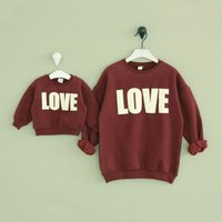 Wine Red Casual Mom And Child Hoodies Autumn Winter Warm Let...