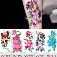 21 * 10 cm Geçici Sahte Dövmeler Su Geçirmez Dövme Çıkartma Vücut Sanatı Boyama Parti Dekorasyon vb için Karışık Çiçek Gül Plum Çiçeği