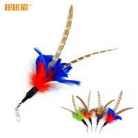 Cat plumes de laine Langshan drôle chat jouet pour chat plume de remplacement de bâton