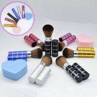 Al por mayor-6 colores retráctil Maquillaje Blush Brush Powder Cosmetic Adjustable, Face Power cepillo Kabuki cepillo para mujeres belleza