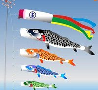 Koinobori Koi Nobori Carpa Windsocks serpentinas de colores Fish Flag Decoración Med Fish Kite Flag Colgar la decoración de la pared 40cm 55cm 70cm 100cm 150cm