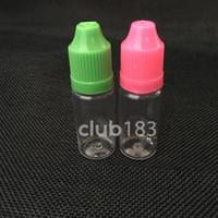 çocukların açamayacağı kapak, örneğin sıvı için boş damlalıklı şişelerle ücretsiz nakliye PET plastik e sıvı şişe, 10 mi damlalıklı şişe eliquid