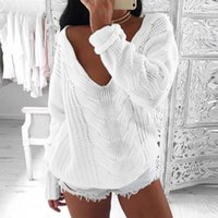 Women Sweaters 2017 Autumn Sexy V Neck Long Sleeve Loose Cas...