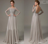 Hot Mother Of The Bride Dress Long Sleeve A- Line Appliques L...