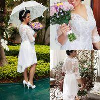 2019 nouvelle taille de mariage robes de mariée haute basse 3/4 manche en V-cou de la dentelle du thé longueur de thé de mariée courte robe de mariée sur mesure W1028