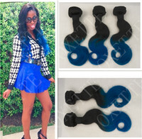 Oxette blue ombre hair weave extensions body wave, two tone ...