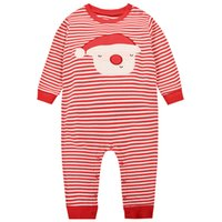 Christmas Baby Boy Girl Romper Long Sleeve Cotton Striped O ...
