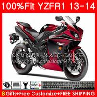 Corps d'injection pour YAMAHA YZF 1000 YZF R 1 YZF-1000 YZF-R1 13 14 rouge noir 86NO15 YZF1000 YZFR1 13 14 YZF R1 2013 2014 Kit de carénage 100% Fit