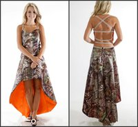 2016 Высокий низкий спагетти Camo Bridesmaid платья с бисером Линия Criss Cross Back CamoFlage Main of Change Powers Custom