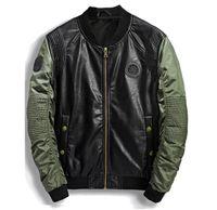 Yüksek Kaliteli Deri Ceket Erkekler Yeni Marka Sonbahar Tasarımcı Moda Standı Yaka PU Motosiklet Ceketler Yeşil Uçan Pilot Mont 3XL