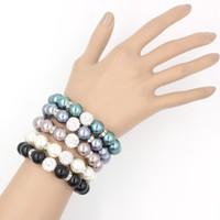 Бесплатная доставка жемчужные украшения, 12 мм хрустальный шар стрейч браслет 12 мм жемчужный браслет для женщин подарки
