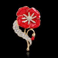 Celebrity Princess Kate style Broches de Amapola Flor Pins Venta de Moda UK Broche de Amapola Roja Flor Pins W585