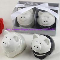 50Sets Nouveau Couleur Noir et Blanc Couleur Piggy Mariée Broche Petit Pepper Shakers Shakers Shakers Favor Favor Bridal Douche Cadeaux