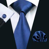 빠른 배송 망 블루 넥타이 세트 Hanky 커프스 단단한 솔리드 컬러 자카드 비즈니스 공식 작업 넥타이 세트 패션 액세서리 N-0326