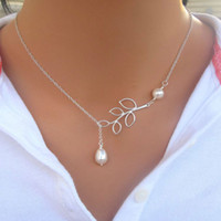 Fine Jewelry Women Pearl Leaf Pendant Necklaces Silver Plati...