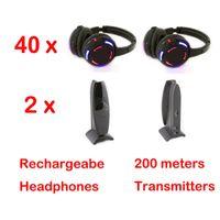Silent Disco concurrencer le système de casque sans fil led noir - Quiet Clubbing Party Bundle (40 casques + 2 émetteurs)