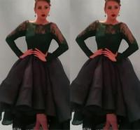 2015 베스트 셀러 목 긴 소매 무도회 드레스 티 길이 셔링 Organza 푹신한 볼 가운 댄스 파티 드레스 세련된 레이스 이브닝 드레스