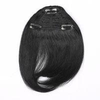 7 인치 컬러 블랙 브라운 및 금발 조합 인간의 머리카락 확장 프린지 헤어 클립 쉽게 적용 3 클립 PCS 인간의 머리카락 쾅
