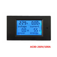 10pcs / lot 디지털 전압계 전류계 AC 220V 100A amp 볼트 미터 전류 LCD 파란색 배면 전압 전력 에너지 변압기 코일