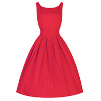Al por mayor-2015 Audrey Hepburn Vestidos M-3XL 4XL 5XL Tallas grandes Mujeres Summer Retro Red Party Club de Boda Rockabilly Vintage 50s Vestidos