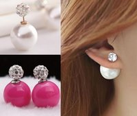 2015 New Fashion jewelry double pearl earings candy color ea...