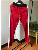Vente en gros Hip hop Anti Fashion jogger Vêtements fond rouge FOG FEAR DE DIEU Jogger Justin Bieber Sport Side Pantalons Zipper