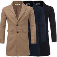 Venta caliente de los hombres rompevientos Slim Fit Jakcets largo cálido invierno prendas de vestir exteriores de los hombres sólido único Breasted abrigo de mezcla de lana moda