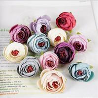 """Cabeça De Flor De Camélia De Seda Europeia Dia. 3.5 cm / 1.38 """"flores artificiais rosas floco de neve rosa chá para diy buquê de noiva acessórios"""
