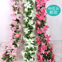 """160 cm / 63 """"Longitud Artificial Seda Flor Vid Simulación Lily Rose Portafolio Rattan Guirnaldas Arcos con Flores Decoraciones de escaparate para el hogar"""