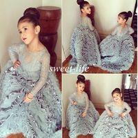 Krikor jabotian 웨딩 어린이 꽃 소녀 드레스 빈티지 레이스 긴 소매 공 가운 ruffles 덮여 버튼 여자 미인 드레스