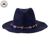 Toptan-Ulgen Tasarlanmış Bohemian fedoras çiçek kafa bandı ile lacivert yün fedoras şapka wome'nın kış fötr şapka [HUL183g]