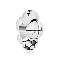 Футбол баскетбол бейсбол софтбол хоккей футбол спортивные металлический слайдер бусины Европейский бусины Шарм Fit Пандора chamilia Бьяджи браслет