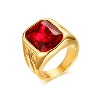 Men' s Figment Ring with Red Black CZ Stone in Gold Tone...
