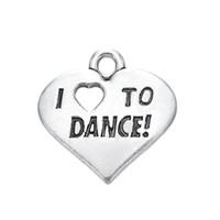 Envío gratis Nueva Moda Fácil de diy 20 Unids Letra Grabada Me encanta Bailar Joyas de Encanto de Corazón haciendo el ajuste para el collar o pulsera