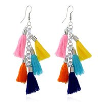 4 color Multi color tassel Drop Earrings Fringe Long Tassel ...