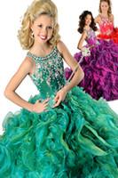 2020 wunderschöne lila Ballkleid Festzug Kleider für Mädchen Perlen Neckholder Lace-up zurück Organza Rüschen grün rot Blume Mädchen Kleider
