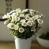 Al por mayor- 1 ramo 8 cabezas artificial falso Daisy flor de seda casa decoración de la boda flor