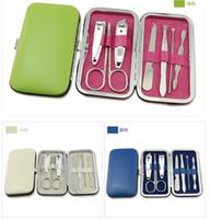 All'ingrosso-Nuovo arrivo di alta qualità 7 pezzi in acciaio inox portatile Nail Art Manicure Set con Pu Box + Travel Mini Nail Cutter