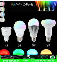 2015 New2.4g RF Bezprzewodowy E27 GU10 RGBW RGB + Cool White RGB / WW RGB + Ciepłe białe 4W / 6W / 9W Par30 85-265vled Light Dimmable Bulb Lampa Darmowa Wysyłka