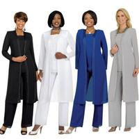 Árabe Mãe Da Noiva Calça Ternos com Jaqueta de Mangas Compridas Moda Verão Personalizado Chiffon Mãe Noite Calça Ternos para Casamentos BO8536