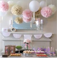 (5pcs) 15cm Papier Peint Pom Poms Fleurs Artificielles Boules Anniversaire De Mariage Décoration enfants fête fournitures W041
